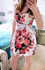 White and Red Floral Sweetheart Skater Dress - Violet Fashion