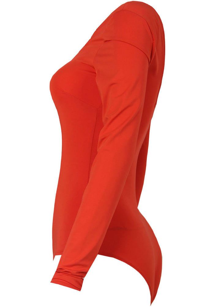 Jenna Orange Celebrity Front Tie Bodysuit - Violet Fashion