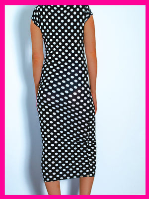 Monochrome Polkadot Midi Dress - Violet Fashion