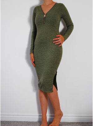 Zip up Front Knee Length Dress Olive Green - Violet Fashion
