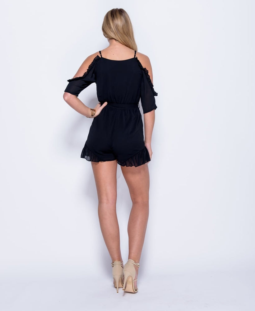 Load image into Gallery viewer, Rose Embroidered Cold Shoulder Playsuit - Violet Fashion