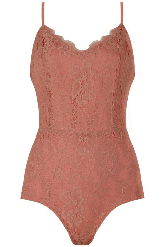 Alia Rose Floral Lace Lined Intricate Bodysuit - Violet Fashion