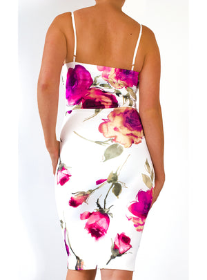 Load image into Gallery viewer, Vienna Floral Rose Plunge 'V' Neck Bodycon Dress - Violet Fashion