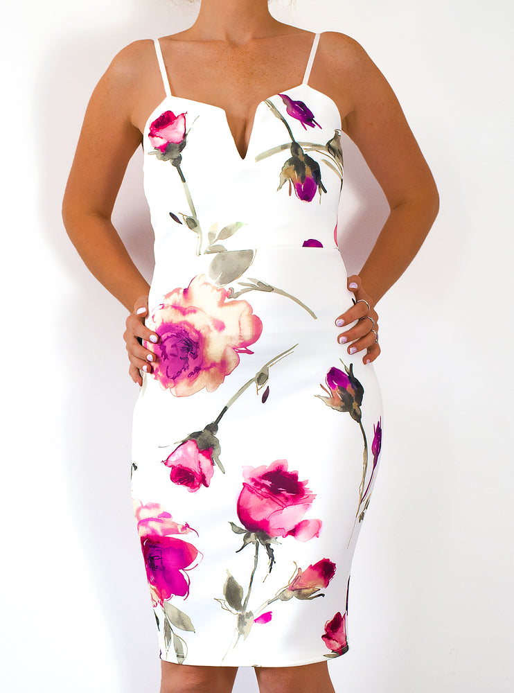 Vienna Floral Rose Plunge 'V' Neck Bodycon Dress - Violet Fashion