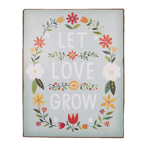 'Let Love Grow' Folk Wall Plaque