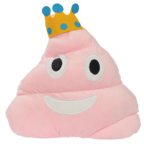 Pink Poop with Crown Emotive Cushion