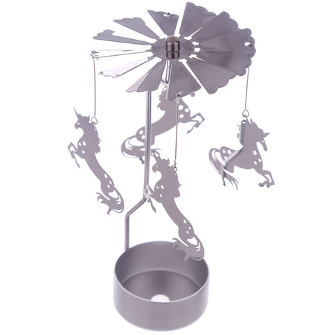 Unicorn Tea Light Metal Spinning Deco