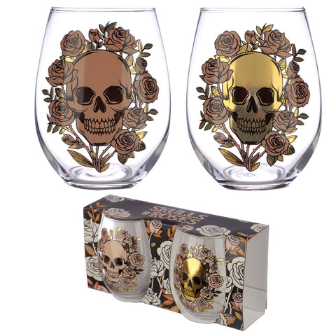 Skulls & Roses Glass Tumblers (Set of 2)