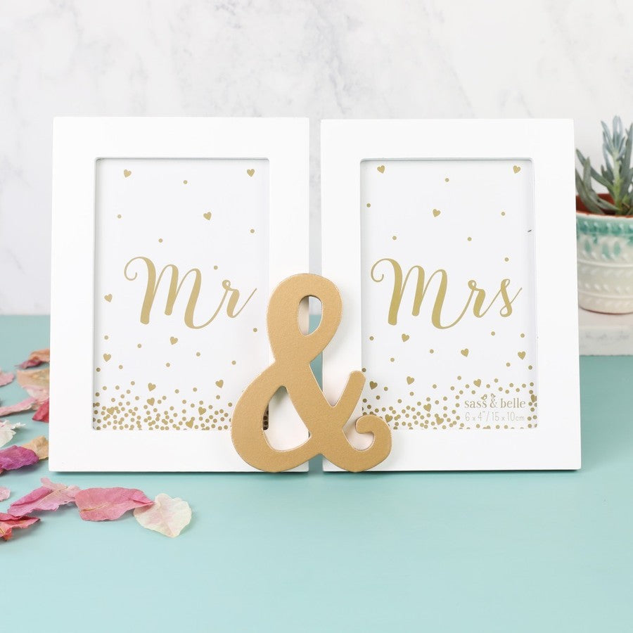 Mr & Mrs Gold Double Photo Frame