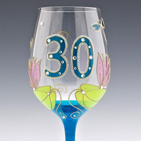 Dragonfly 30th Wine Glass