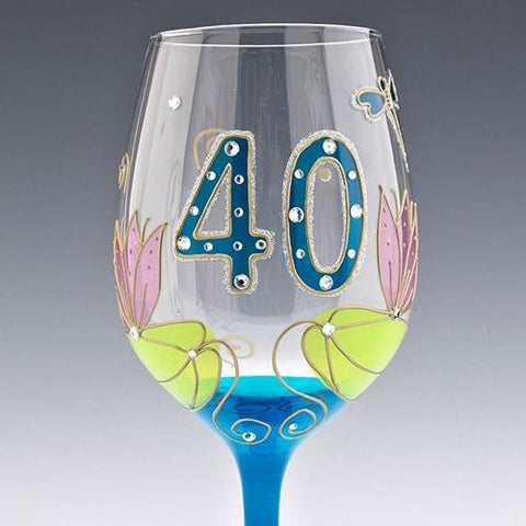 Dragonfly 40th Wine Glass