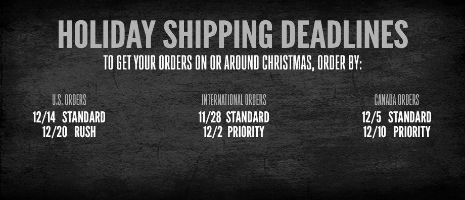 Shipping Deadlines for Judas Priest Store