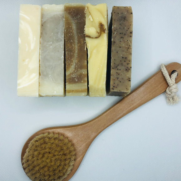 5 Bar Soap Bundle + Natural Bristle Brush