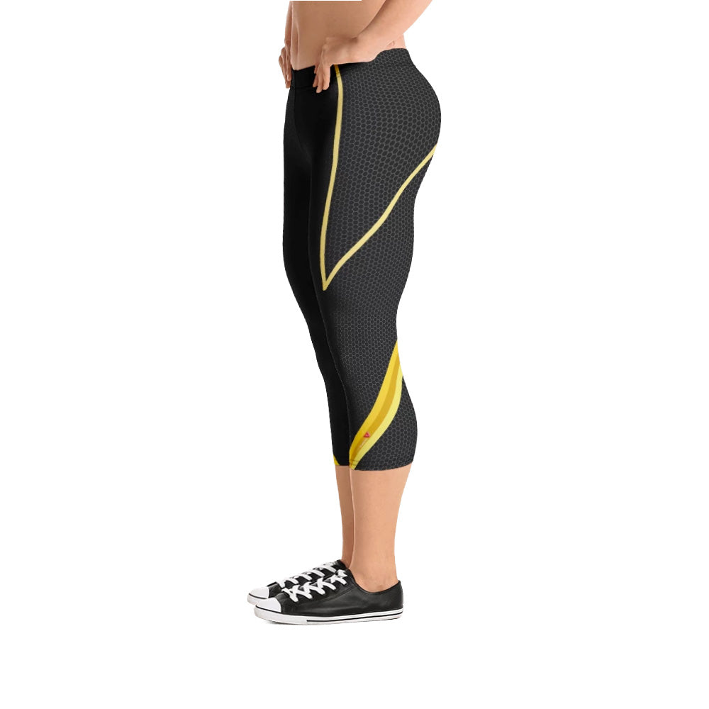 Digital Yellow 3/4 Bodybuilding Tights