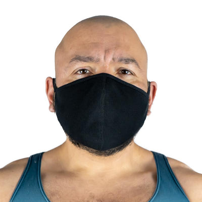 All-Black Poly/Spandex Face Mask with Silver Chloride  (3-Pack)