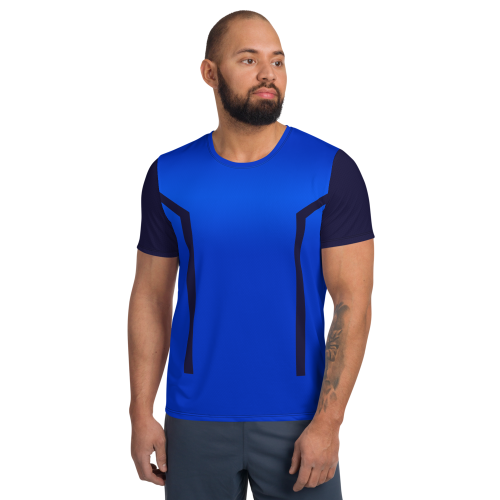 80's Retro Blueberry Moisture-Wicking Workout Shirt