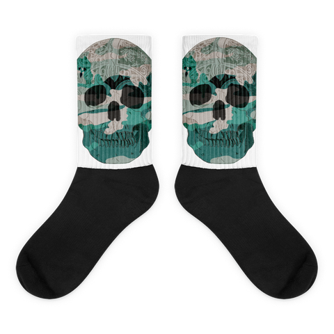 Teal Skull Camo Socks