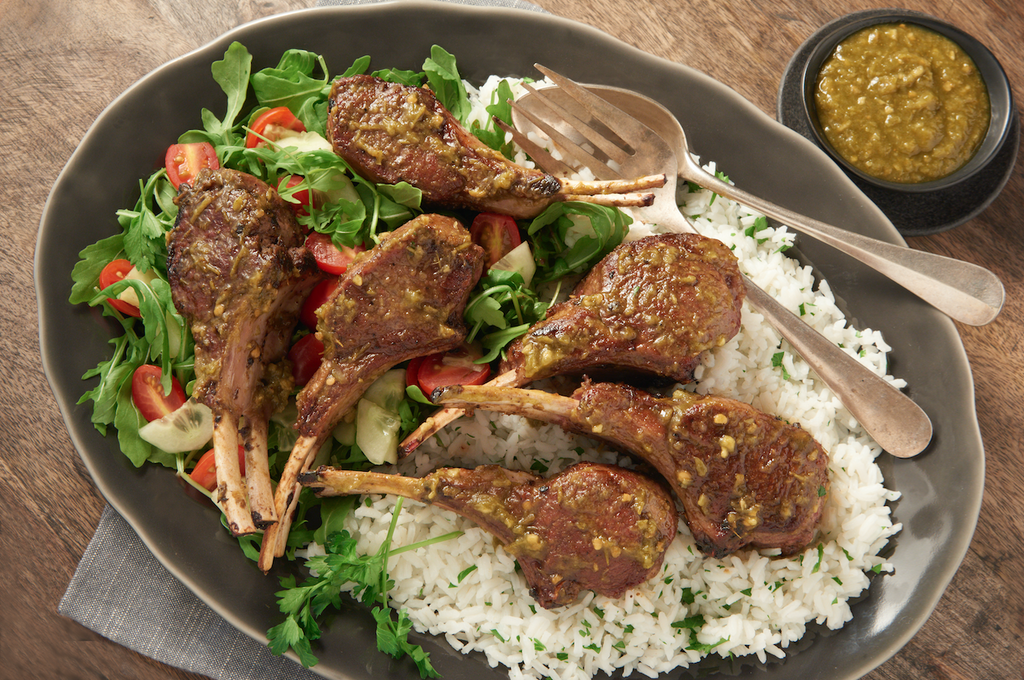 Green Harissa Roasted Lamb Chops