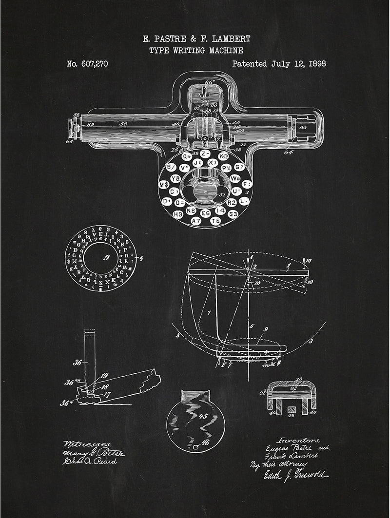 (H2) - Type Writing Machine - Pastre & Lambert - 1898