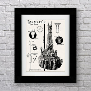 Barad-Dur - The Dark Tower Infographic - Lord of the Rings - 18 x 24""