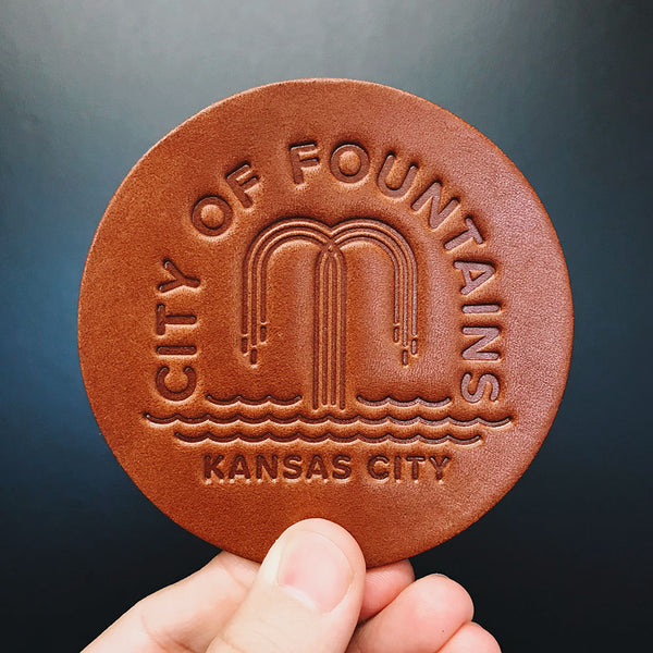 City of Fountains Leather Coaster