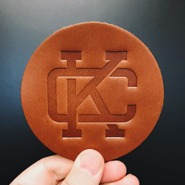 Monogram KC Leather Coaster