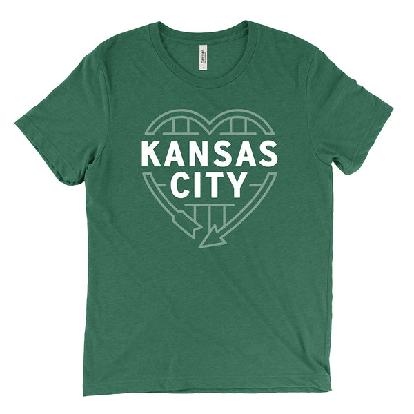 Kansas City Heart Sign Tee (Grass Green)