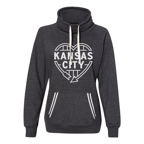 Kansas City Heart Sign Women's Cowlneck (Charcoal)
