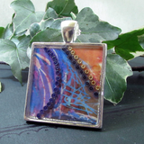 Aqua - silver plated pendant and necklace