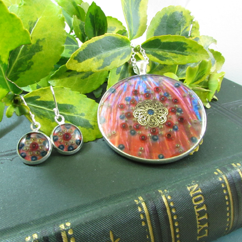 Barnevelder - silver plated necklace and earrings set