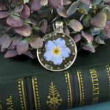 Forget-me-not - silver plated pendant and necklace