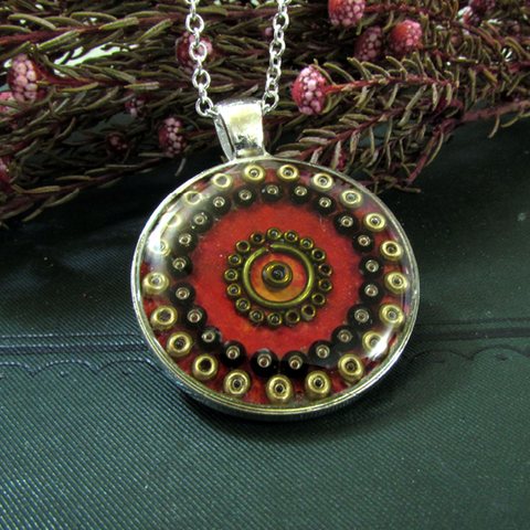 Garnet - silver plated pendant and necklace