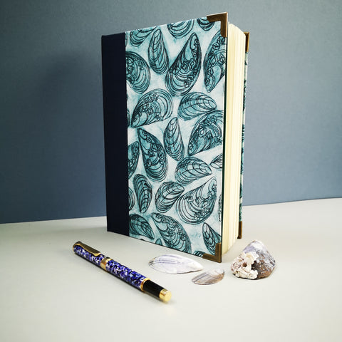 Handbound journal / notebook / diary / bullet journal - Mussel Shell design