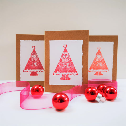 Pack of 5 Father Christmas Hand Printed Greetings Cards
