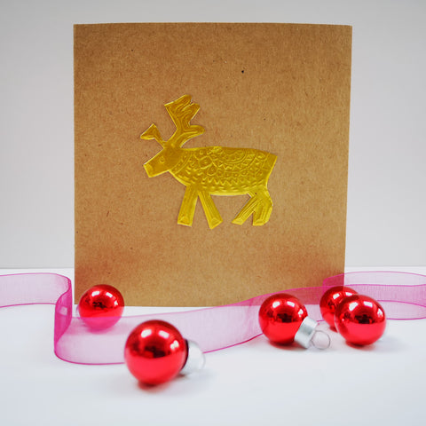 Pack of 5 Embossed Metal Reindeer Christmas Card Greetings Cards