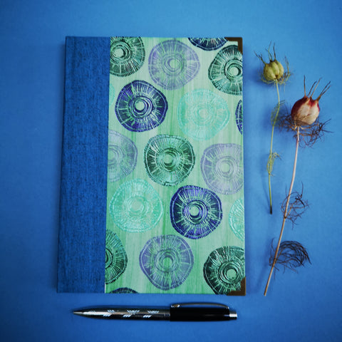 Handbound journal / notebook / diary / bullet journal - Embossed abstract circular design