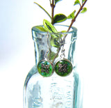 Chartreuse - silver plated earrings