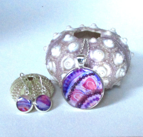 Lilac - silver plated necklace and earrings set