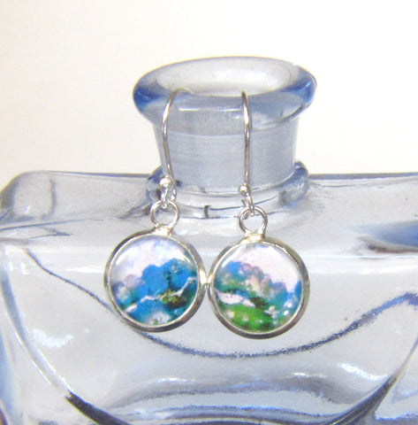 Opal - silver plated earrings
