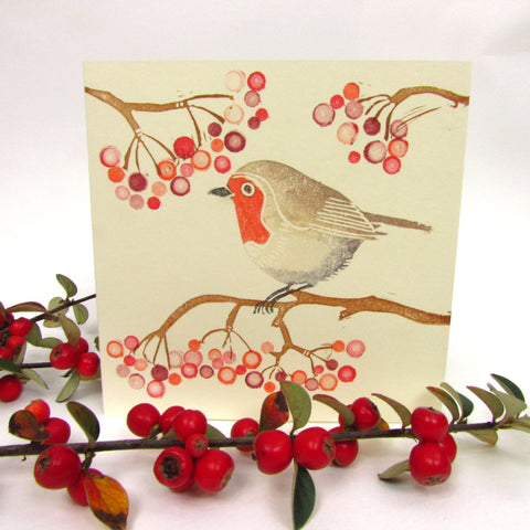 Robin and berries card