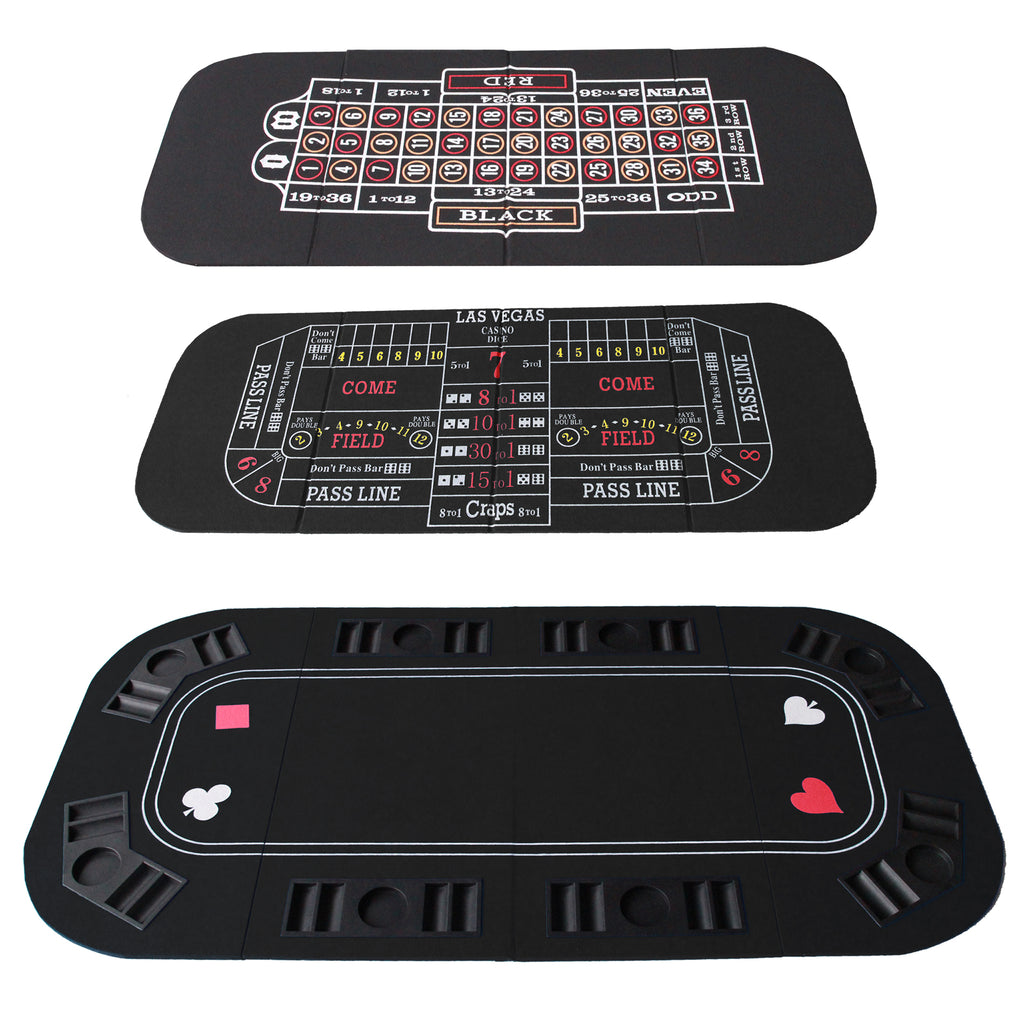 3 In 1 Folding Black Face Poker Table Top For Roulette And Craps And Casino Games