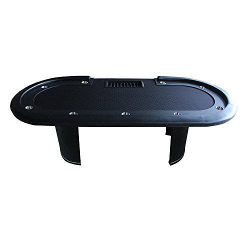 "96"" Black Poker Table With Black Wooden leg Racetrack Holders Plastic Chip Tray - IDS Online Shop"