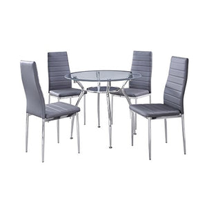 5-Piece Home Dining Kitchen Furniture Set, Metal Frame Table with Glass Top and 4 Chairs, Gray - IDS Online Shop
