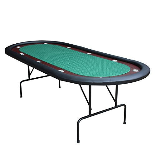 "10 Players 96"" Texas Hold'em Interchangeable Top Folding Legs Poker Table Green - IDS Online Shop"