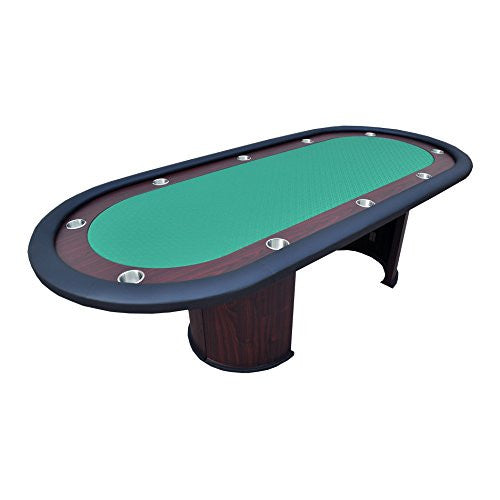 96 Luna Poker Table With Cup Holders And Racetrack Green Speed Cloth