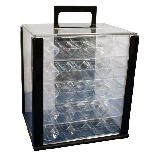 NEW 1000 CASINO POKER CHIPS CASE CARRIER WITH ACRYLIC RACKS