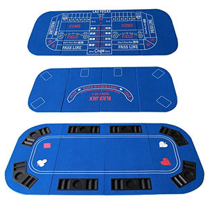 3-1 Folding Poker & Casino Table Top Blackjack & Craps (Blue) - IDS Online Shop
