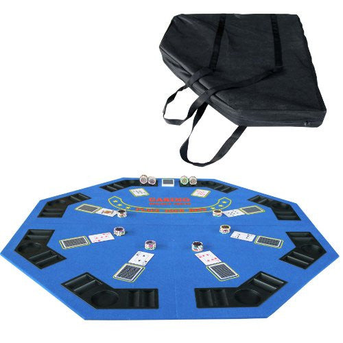 48 Inch Folding Octagon Poker Table Top Green Face For Blackjack Game