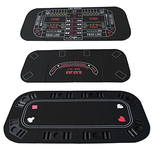 3 In 1 Folding Black Face Poker Table Top For Blackjacks And Craps And Casino Game