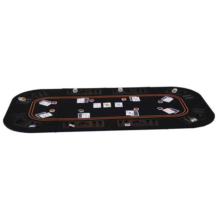 8 Players 4-fold 63 Inches Poker Table Top With Chip Trays For Blackjack Game